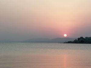 宍道湖の夕日の写真